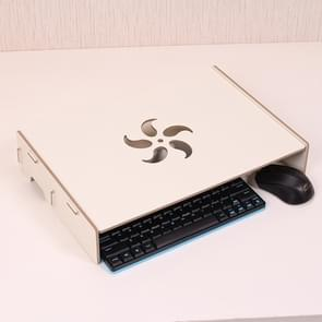 Wood Stand with Keyboard Wiring Slot for Computer Monitor / Laptop(White)