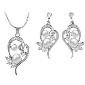 Fashion Cute Flower GesimuleerdPearl Crystal Wedding Sieraden Sets voor vrouwen (Zilver)