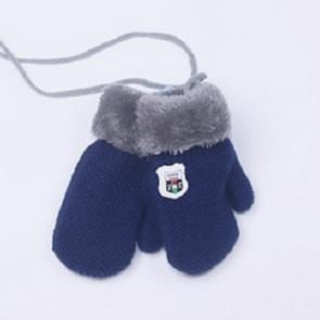 Winter effen kleur label gebreid plus fluweel warme wanten kinderen handschoenen met Lanyard  grootte: 13 x 6 cm (Navy)