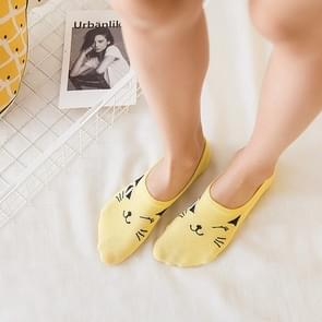 Cartoon Cat Cotton Invisible Socks Shallow Mouth Silicone Sailboat Socks, Size:One Size(Yellow)