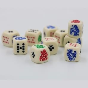 10 PCS Acrylic Carved Round Corner Poker Dice Bar Family Party Game Props(Yellow)