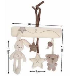 Pasgeboren baby rammel bels muziek opknoping bed veiligheid zetel pluche speelgoed hand Bell multifunctionele wandelwagen speelgoed (konijn auto opknoping)
