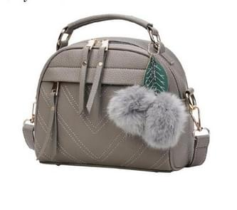 Stylish Women Handbag PU Leather Cute Mini Messenger Shoulder Bags With Ball Toy(grey)