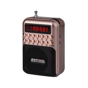 Portable Rechargeable FM Radio Receiver Speaker, Support USB / TF Card / Music MP3 Player(Gold)