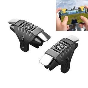 2 paren F01 Electroplating Mechanische As Bidirectional Button Extra Shooting Game Handle voor mobiele telefoons binnen de dikte van 6.1-12.0mm (Zwart)