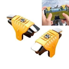 2 paren F01 Electroplating Mechanische As Bidirectional Button Extra Shooting Game Handle voor mobiele telefoons binnen de dikte van 6.1-12.0mm (Geel)