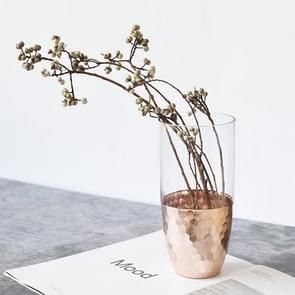 Hand Gilded Glass Vase  Home Decoration Wedding Decoration, Style:Vertical Long, Colorc:Rose Gold