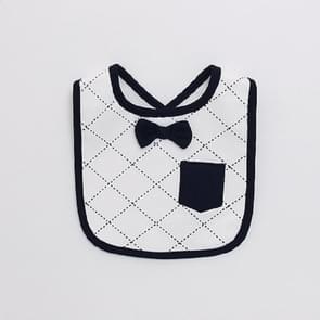 Groomsman Saliva Towel Child Fake Gentleman Bow Tie Personality Waterproof Bib(White Grid Bow Tie)