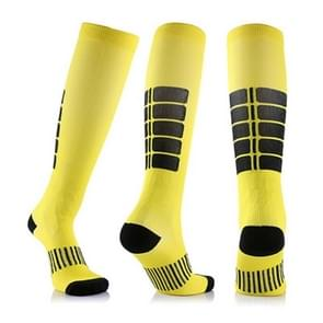 Unisex Sports Stockings Running Cycling Socks Compression Socks, Color:Yellow, Size:S / M
