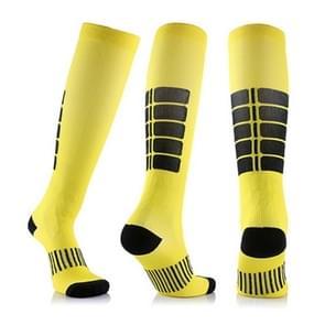 Unisex sport kousen Running Fietsen sokken compressie sokken  kleur: geel  maat: L/XL