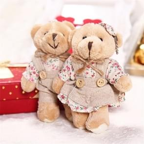 Couple Bear Rabbit Plush Keychain Floral Cloth Bear Rabbit Bunny Dolls Key Bag Pendants