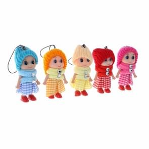 5PCS Mini Plaid Skirt Doll Soft Baby Plush Dolls Keychain Toy, Random Delivery