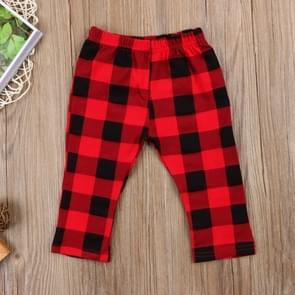 Children Large Plaid Elastic Waist Trousers, Size:90cm(Red)
