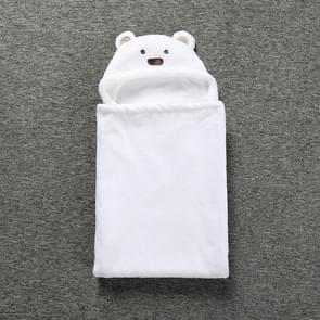 Cute Animal Cartoon Babies Blanket Kids Hooded Bathrobe Toddler Baby Bath Towel(White)