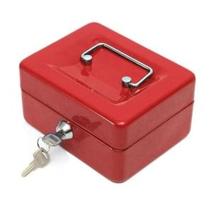 Stainless Steel Portable Mini Cash Box Can Be Locked for Home Office(Red)