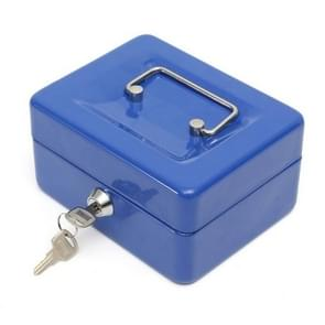 Stainless Steel Portable Mini Cash Box Can Be Locked for Home Office(Blue)