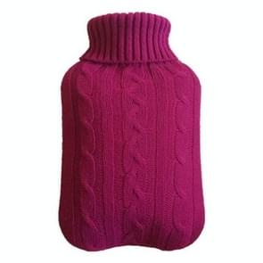 Hot Water Bottle Solid Color Knitting Cover (Without Hot Water Bottle) Water-filled Hot Water Soft Knitting Bottle Velvet Bag(Wine red)