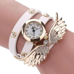 Large Wings Diamond Circle Bracelet Quartz Watch(WHITE)