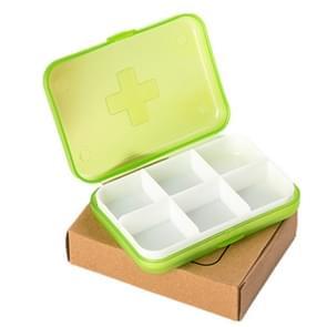 2 stuks mini 6 slots draagbare vitamine medische organisator pil vak (groen)