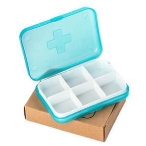 2 stuks mini 6 slots draagbare vitamine medische organisator pil vak (blauw)