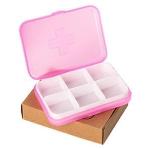 2 stuks mini 6 slots draagbare vitamine medische organisator (roze)