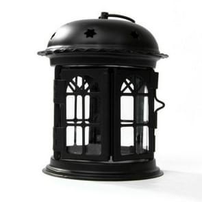 Antique Iron Star House Candlestick Romantic Wedding Candle Holder Lantern Retro Home Decoration Sconce(Black)