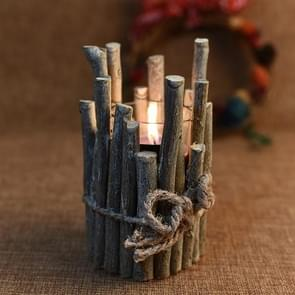 Christmas Decorations Retro Candlestick Home Decoration Candle Tube Creative Props Wood Crafts, Without Cnadle