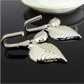 2 PCS Iron Leaf Shaped Curtain Tie Wall Hooks Home Decor(Silver)