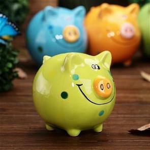 Porcelain Smile Pig Piggy Bank Table Decoration Ornaments Ceramic Crafts  Gifts(Green )
