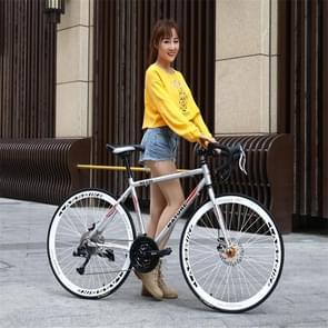 27 inch MZ-C30 aluminiumlegering wedfiets met dubbelschijf rem 700C Variable Speed Student Bicycle 21 Speed (Titanium Zilver)