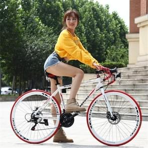 27 inch MZ-C30 aluminiumlegering racefiets met dubbelschijf rem 700C Variable Speed Student Bicycle 21 Speed (Wit Rood)