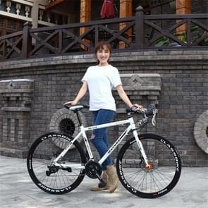 27 inch MZ-C30 aluminiumlegering racefiets met dubbelschijf rem 700C Variable Speed Student Bicycle 21 Speed (Wit Zwart)