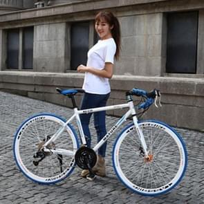 27 inch MZ-C30 aluminiumlegering racefiets met dubbelschijf rem 700C Variable Speed Student Bicycle 21 Speed (Wit Blauw)