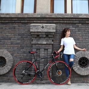 27 inch MZ-C30 aluminiumlegering racefiets met dubbelschijf rem 700C Variable Speed Student Bicycle 30 Speed (Zwart Rood)
