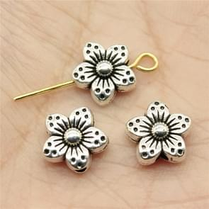 30 PCS Tibetan Silver Alloy Flower Charms Beads Flower Spacer Beads Charm, Size: 9x9x5mm