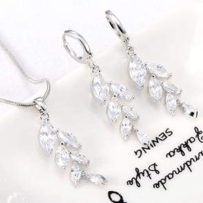 Woman Simple Trendy Zircon Wheat Necklace Earrings Bridal Jewelry Set(Platinum)