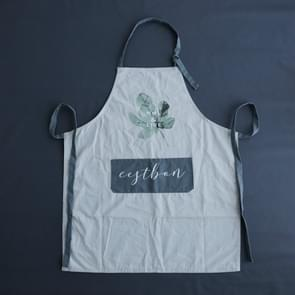Simple Thin Leaf Pattern Breathable Kitchen Apron(Gray)