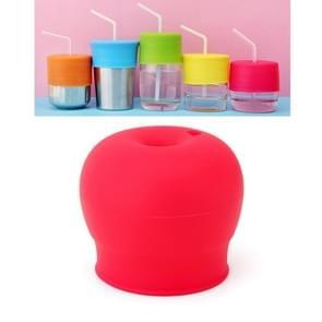 Straw Cup Deksel Siliconen Lekvrije Cup Deksel voor kinderen (Rood)