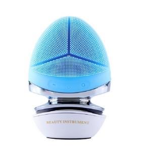 Multifunctioneel ultrasoon gezicht en oog elektrisch warm siliconen reinigingsinstrument(Blauw)