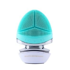 Multifunctioneel ultrasoon gezicht en oog elektrisch warm siliconen reinigingsinstrument (groen)