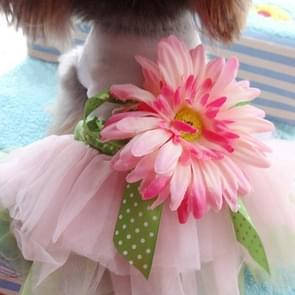 Fashionable Dog Gauze Clothes For Pet Dog Cat Clothes Party Flower Skirt, Size:M(Pink)