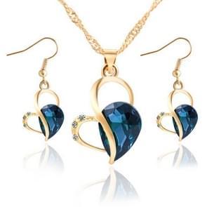 Cute Heart Shaped Crystal Stud Stud Sieraden Set (Blauw)