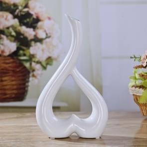 Hart vorm creatieve keramische bloem vaas Home decor bruiloft Festival Office Desktop decoratie (wit)