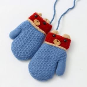 Winter baby cartoon Bear wanten plus fluweel warme halter handschoenen kinderen handschoenen  grootte: 13 x 7cm (hemelsblauw Bear)