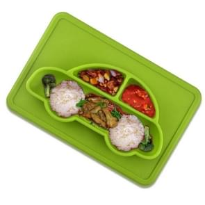 3 PCS Integrated Child Food Grade Silicone Square Car Plate(Green)