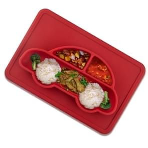 3 PCS Integrated Child Food Grade Silicone Square Car Plate(Red)