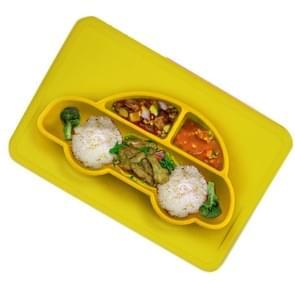 3 STKS geïntegreerde kind food grade silicone vierkante auto plaat (geel)