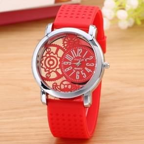 Hollow Gear Dial Silicone Belt Quartz Watch(Red)