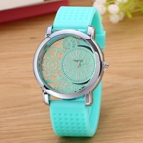 Hollow Gear Dial Silicone Belt Quartz Watch(Mint Green)
