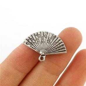 100PCS CHINESE FAN Tibetan Silver 3D Charms Pendants Beads DIY Jewelry Making 13*24mm